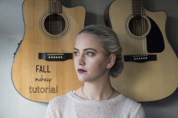 fall makeup tutorial with a dark lip