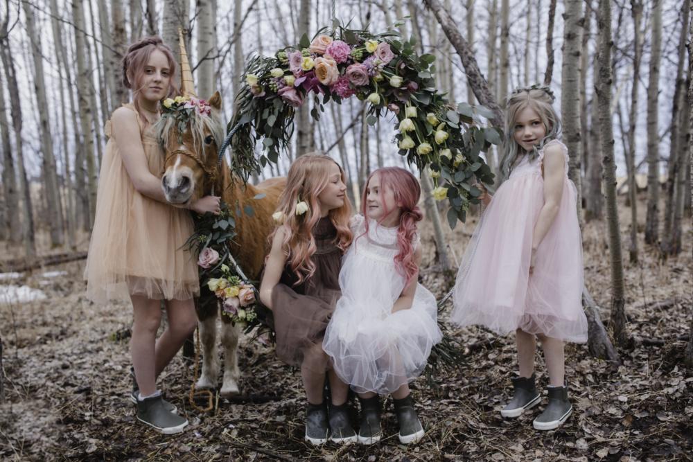 Pastel Flower Girls and a unicorn
